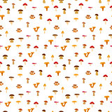 Mushrooms, seamless texture with autumn pattern. Vector illustration
