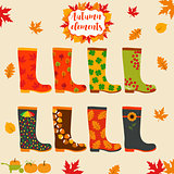 Rain boot, rubber boots. Autumn elements. Creative design template.