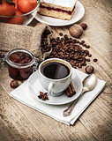 Fragrant strong coffee with sweet dessert