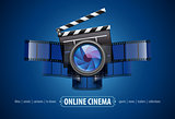 Online movie theater cinema icon design