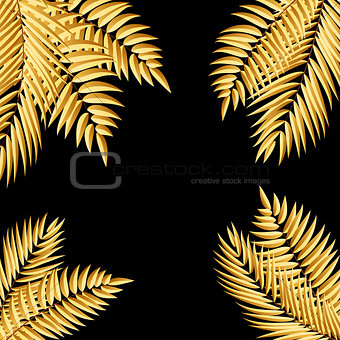 Beautifil Golden Palm Tree Leaf  Silhouette Background Vector Il