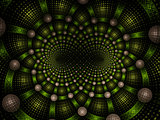 Abstract fractal fantasy green spiral pattern