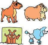 Set of cartoon funny dogs