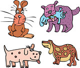 Set of cartoon curious dogs