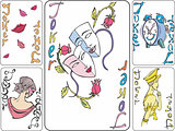 Set of playing joker cards
