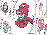 Set of playing cards with jokers as witches