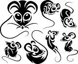 Set of cartoon black mice