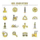 Oil industry and energy yellow fill icons