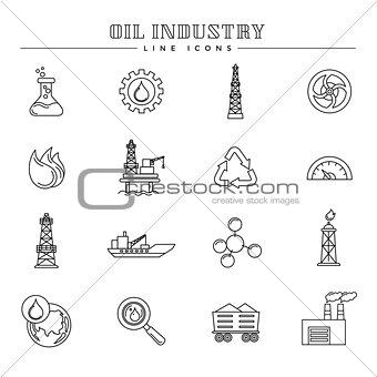 Oil industry and energy, line icons set