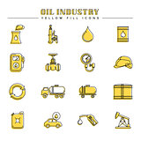 Oil industry and energy, yellow fill icons