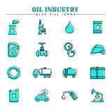 Oil industry and energy, blue fill icons set