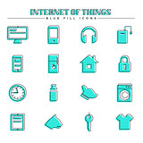 Internet of things and smart home, blue fill icons set