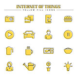 Internet of things and smart home, yellow fill icons set