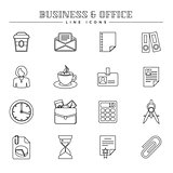 Business and office, line icons set
