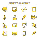 Business and office, yellow fill icons set