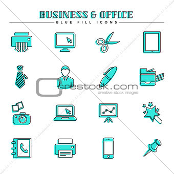 Business and office, blue fill icons set