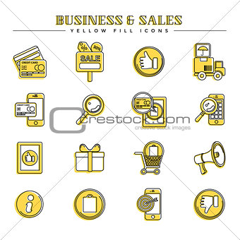 Business and sales, yellow fill icons set