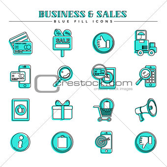 Business and sales, blue fill icons set