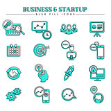 Business and startup, blue fill icons set