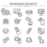 Business and startup, line icons set