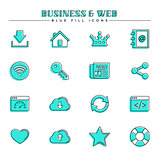 Business and web, blue fill icons set
