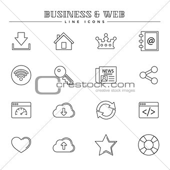 Business and web, line icons set