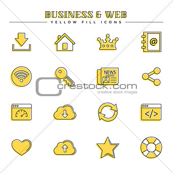 Business and web, yellow fill icons set