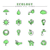 Ecology green fill icons set