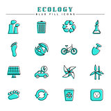 Ecology blue fill icons set