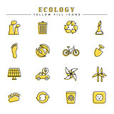 Ecology yellow fill icons set