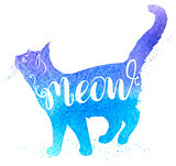 Blue watercolor cat