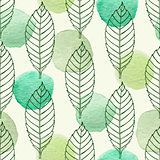 Pattern with leaves and green watercolor blots
