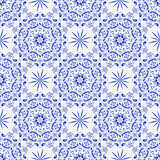 Vintage white-and-blue seamless pattern