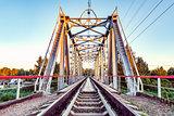 Empty railway metal bridge.