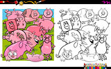 pig characters coloring book