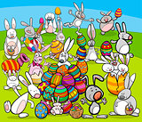 easter bunny big group cartoon