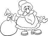 santa with sack coloring book