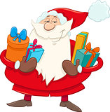santa with presents cartoon