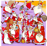 christmas santa group cartoon