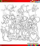 santa group coloring page