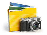 Photo album pc folder icon. Photo camera and folder isolated on