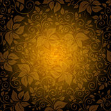Seamless gold pattern with translucent flowers