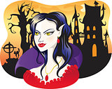 beautiful vampire on halloween background