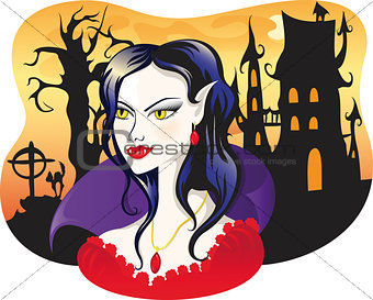 beautiful vampire on halloween background