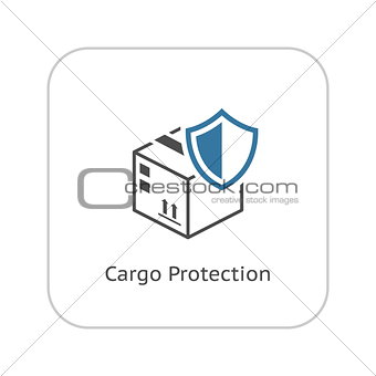 Cargo Protection Icon. Flat Design.