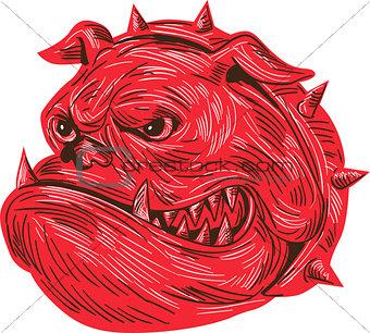 Angry Bulldog Head Drawing
