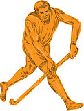 Field Hockey Player Running With Stick Drawing