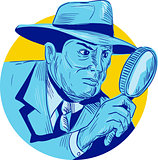 Detective Holding Magnifying Glass Circle Drawing