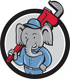 Elephant Plumber Monkey Wrench Circle Cartoon