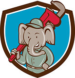 Elephant Plumber Monkey Wrench Crest Cartoon